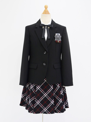 [160cm] 格子スカートベーシックスーツセット ブラック