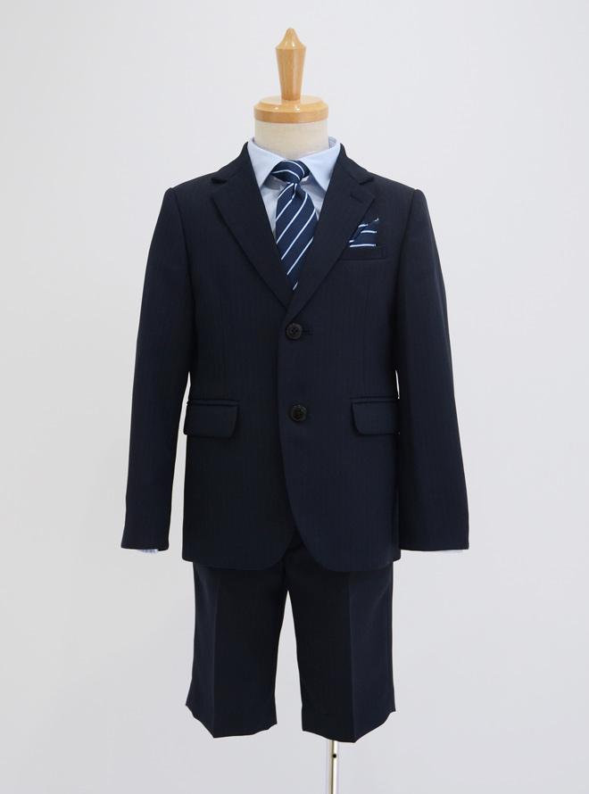 [130cm] 2つボタンストライプ柄スーツセット ネイビー