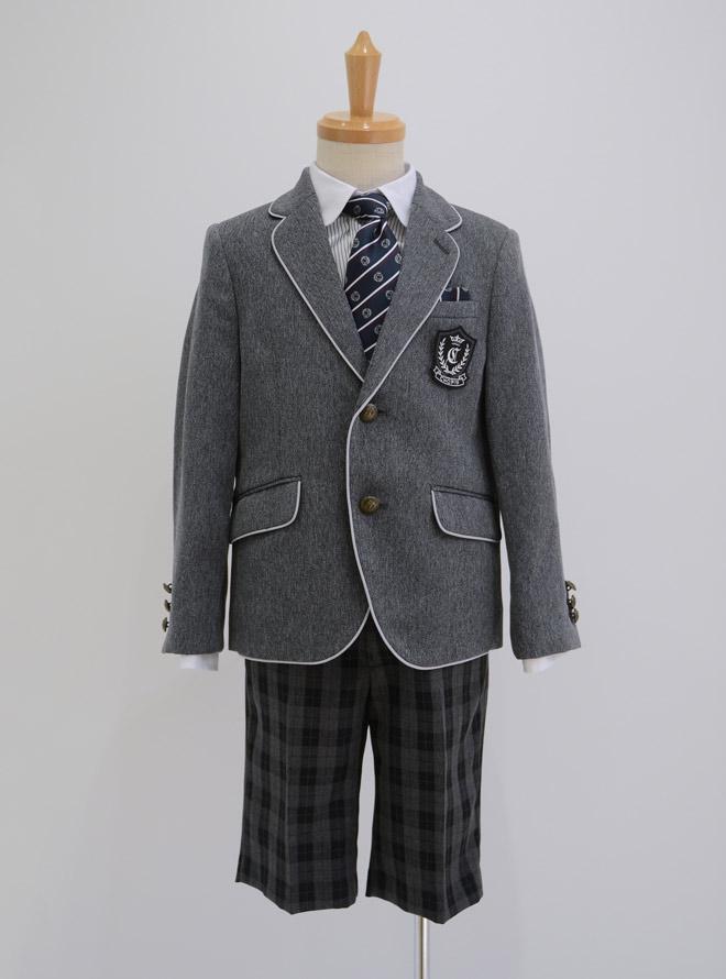 [110cm] パイピングジャケット格子パンツスーツセット グレー