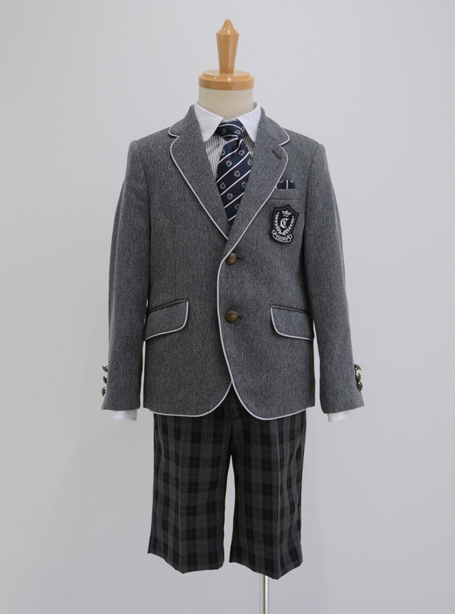 [130cm] パイピングジャケット格子パンツスーツセット グレー