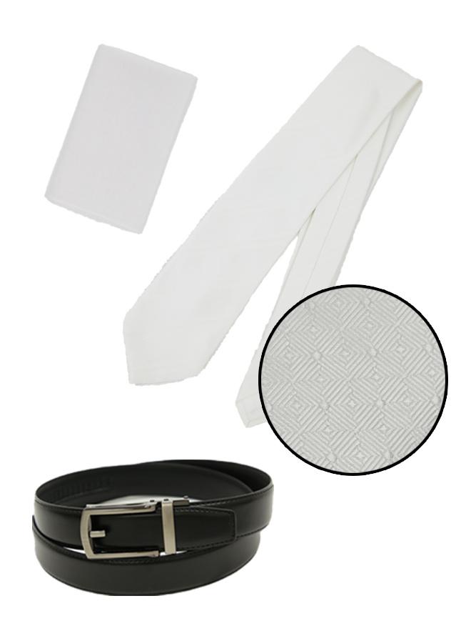 【メンズブラックフォーマル】白ネクタイ(小紋柄)小物セット