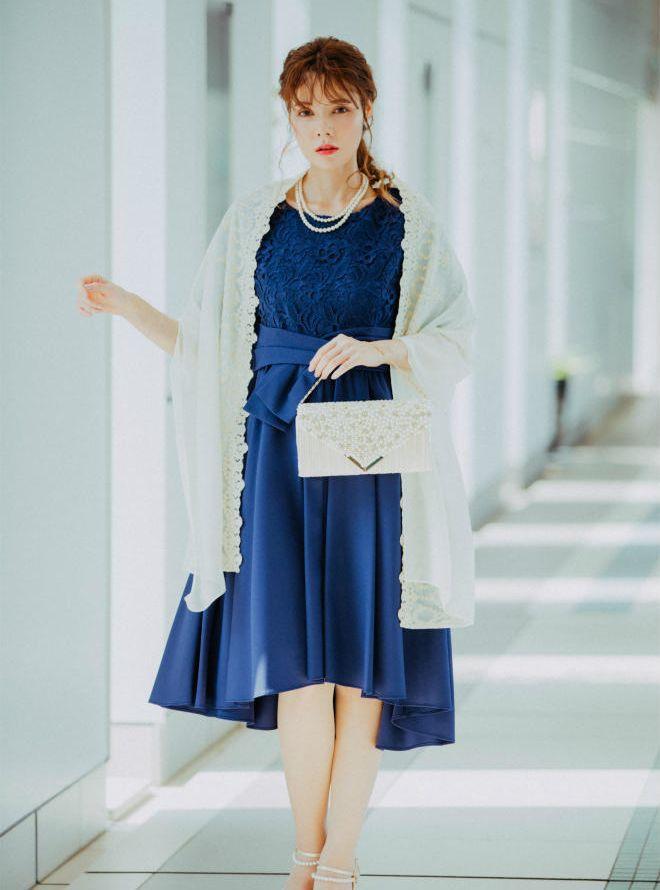 [L] 【4点セット】ドレス&羽織・バック・ネックレス ネイビー