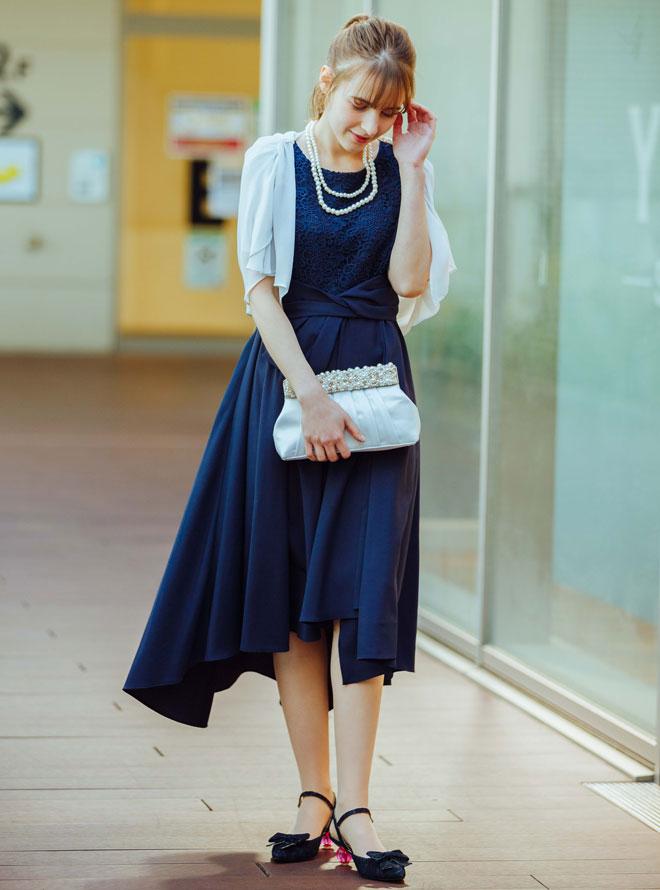 【Web限定特価】[M] 4点セット(ドレス&羽織・バック・ネックレス ネイビー)