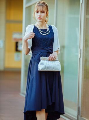 [M]《Web限定特価》4点セット(ドレス&羽織・バック・ネックレス ネイビー)