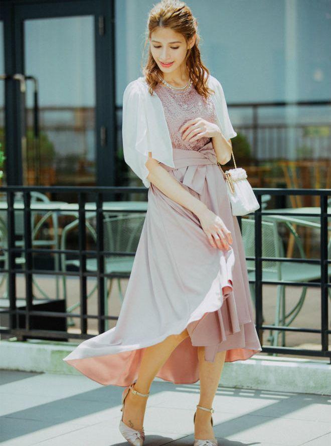 【レンタル】《Web限定特価》[M] 4点セット(ドレス&羽織・バック・ネックレス ピンク)