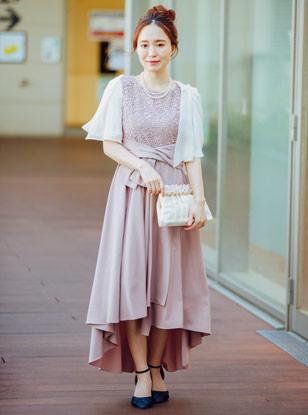 《Web限定特価》[M] 4点セット(ドレス&羽織・バック・ネックレス ピンク)