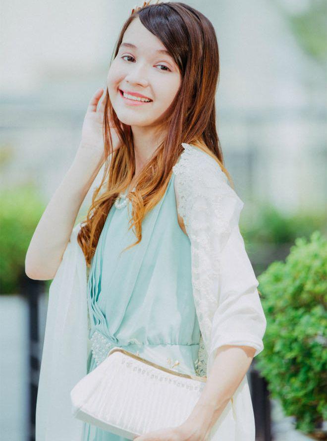 [L] 【4点セット】ドレス&羽織,バック,ネックレス ミント