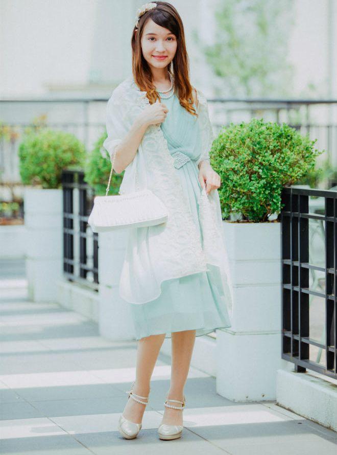 [M] 【4点セット】ドレス&羽織,バック,ネックレス ミント
