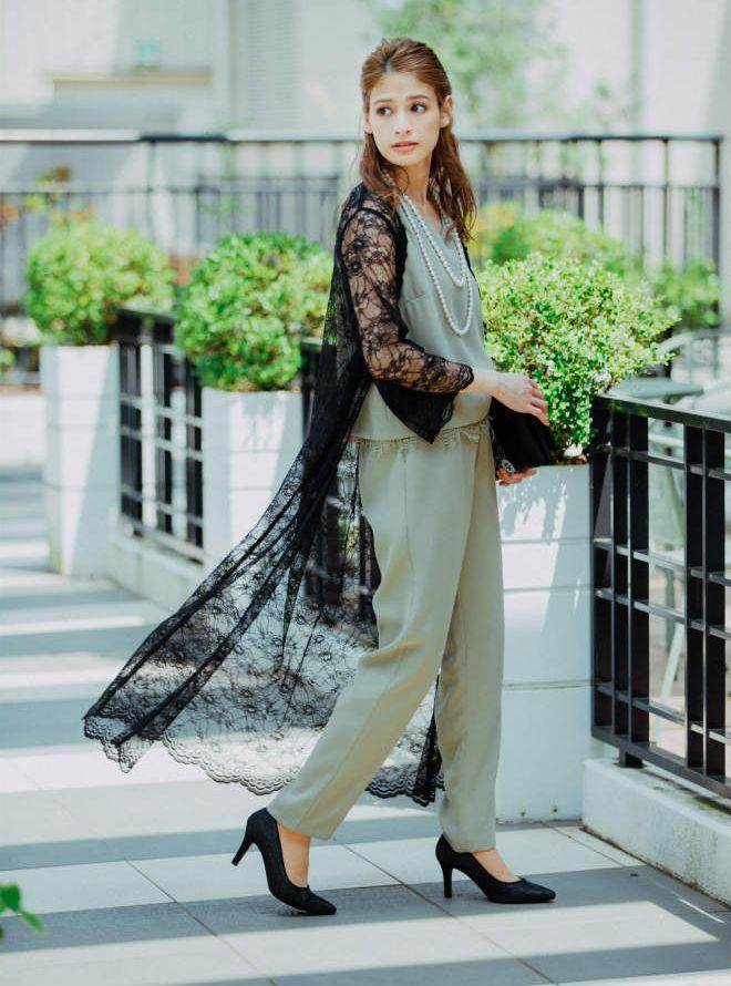 [M] 【4点セット】ドレス&羽織・バック・ネックレス グリーン