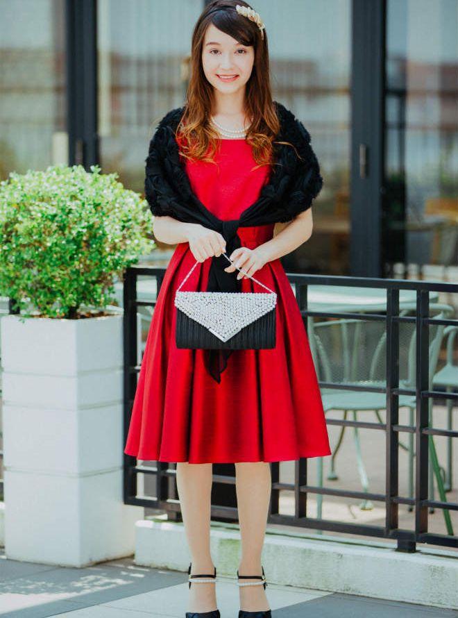 [M] 【4点セット】ドレス&羽織・バック・ネックレス レッド