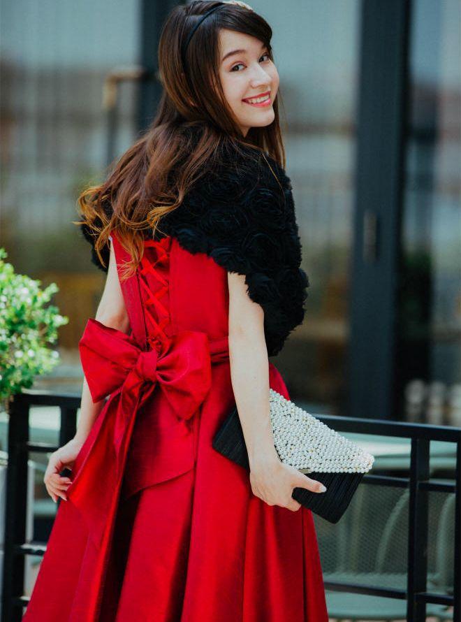 [M] 【4点セット】ドレス&羽織,バック,ネックレス レッド