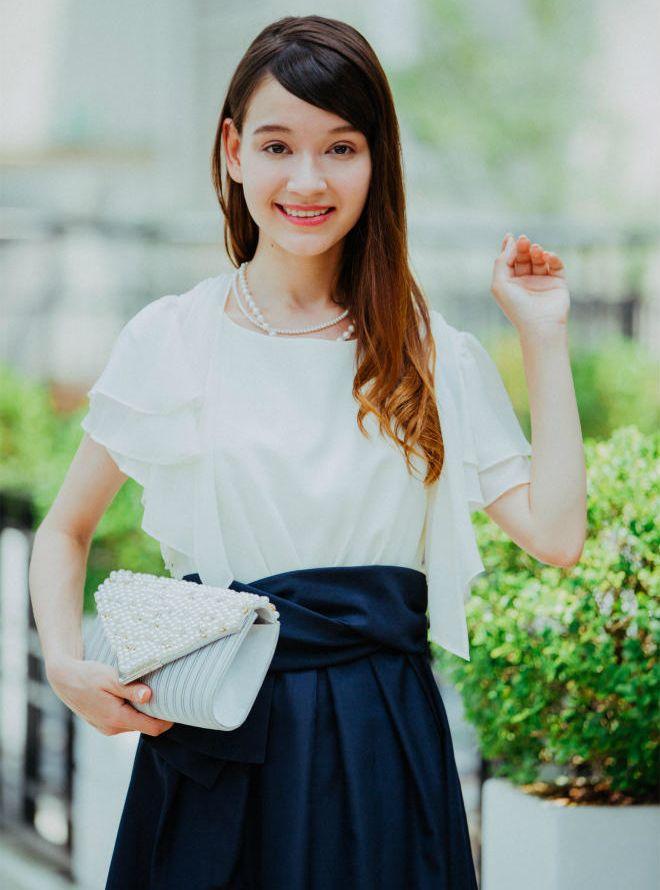 [M] 【4点セット】ドレス&羽織,バック,ネックレス ネイビー