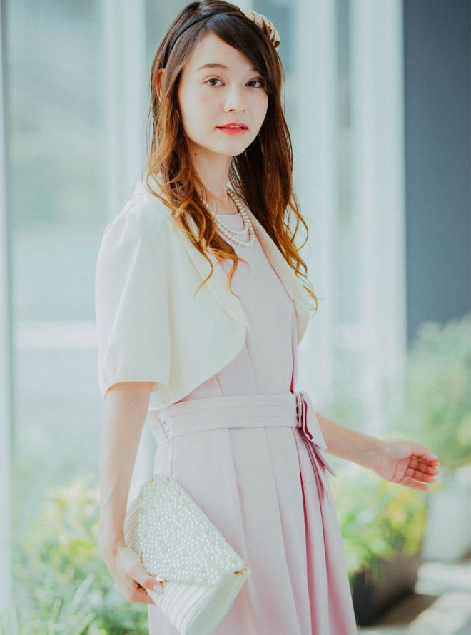 [L] 【4点セット】ドレス&羽織,バック,ネックレス ピンク