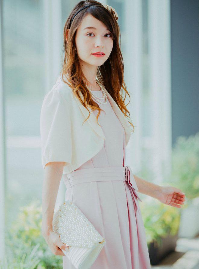 【Web限定特価】[L] 4点セット(ドレス&羽織・バック・ネックレス ピンク)