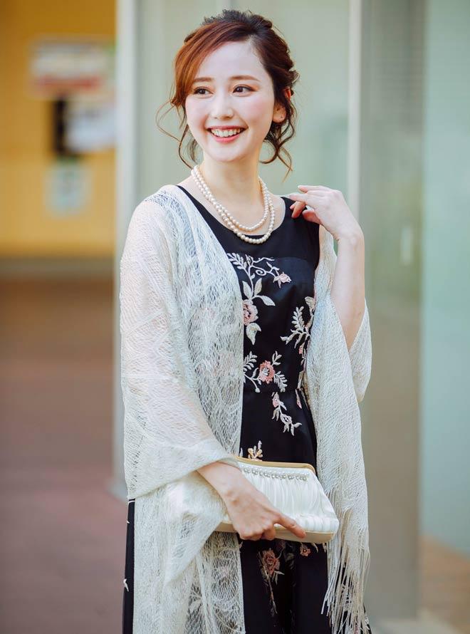 [M] 【4点セット】ドレス&羽織,バック,ネックレス ブラック