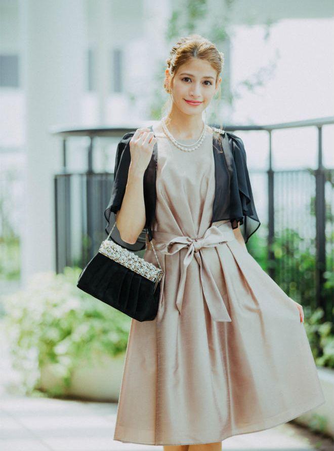 [M] 【4点セット】ドレス&羽織・バック・ネックレス ベージュ