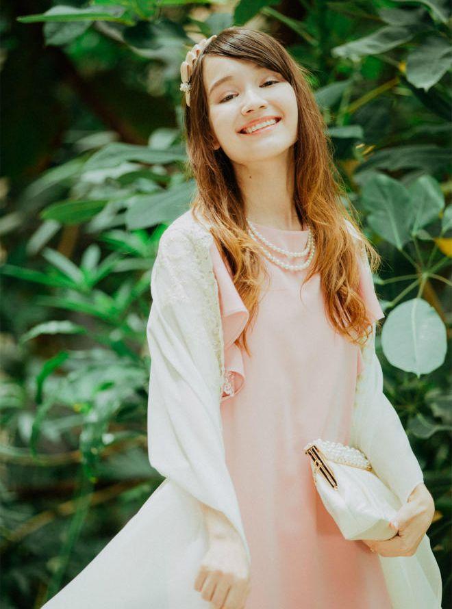 [M] 【4点セット】ドレス&羽織,バック,ネックレス ピンク