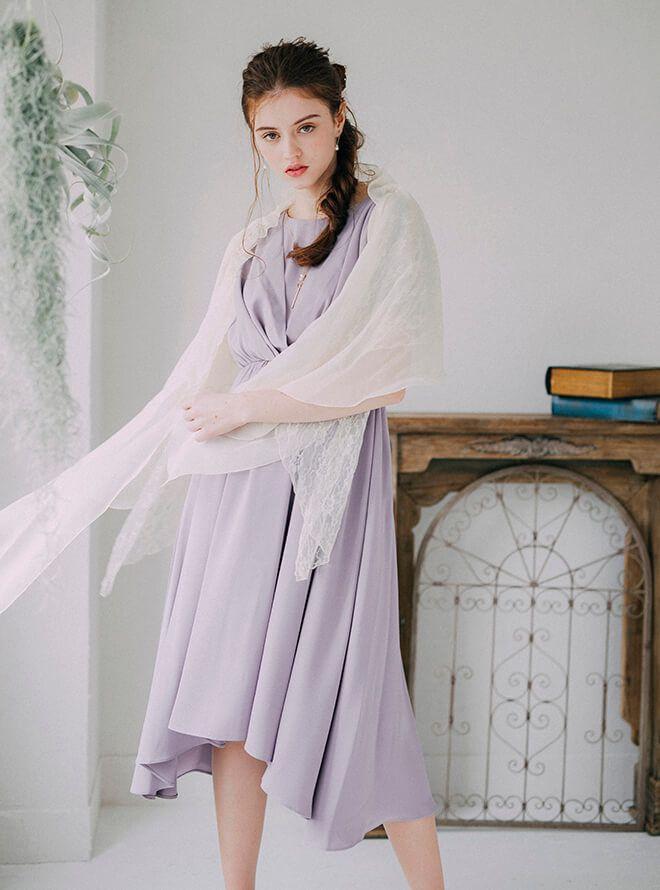 【レンタル】《Web限定特価》 [M] 4点セット(ドレス&羽織・バック・イヤリング パープル)