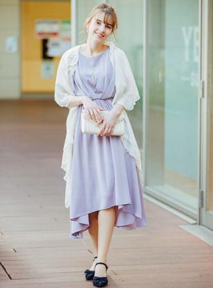 《Web限定特価》 [M] 4点セット(ドレス&羽織・バック・イヤリング パープル)