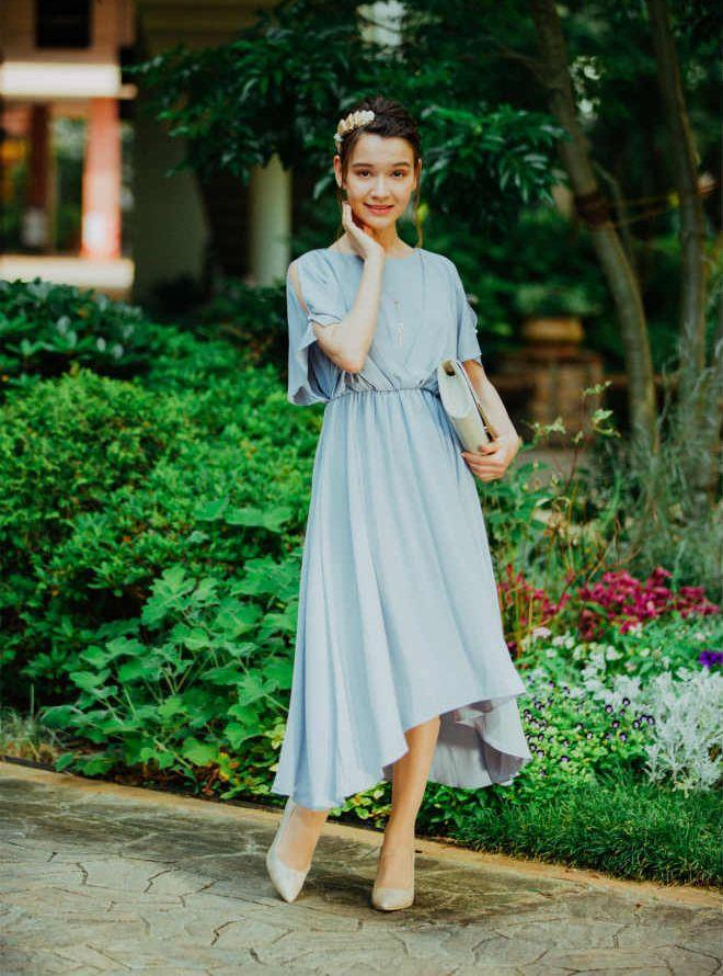 [M] 【4点セット】ドレス&羽織・バック・イヤリング グレー