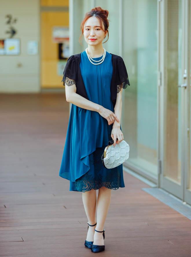 【Web限定特価】[M] 4点セット(ドレス&羽織・バック・ネックレス グリーン)
