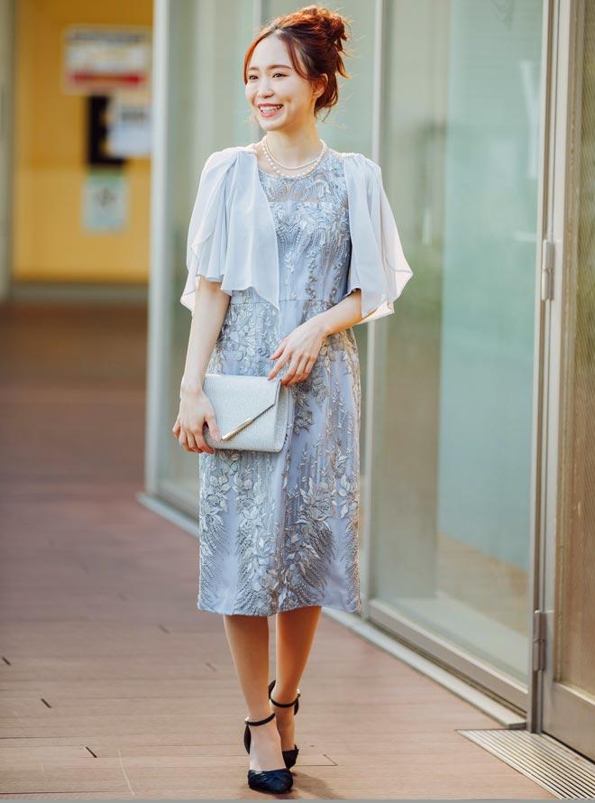 [M] 【4点セット】ドレス&羽織・バック・ネックレス ブルーグレー