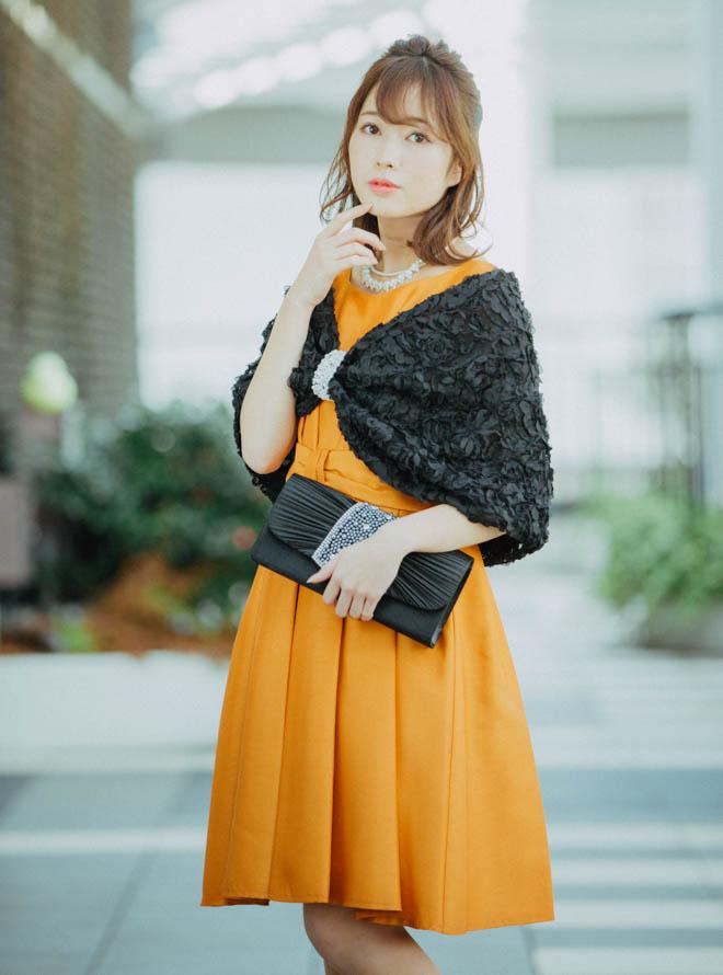 [L] 【4点セット】ドレス&羽織・バック・ネックレス オレンジ