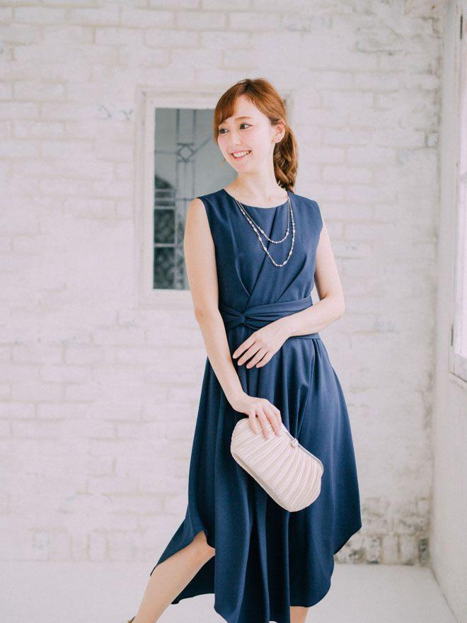 【Web限定特価】[2L] 4点セット(ドレス&羽織・バック・イヤリング ネイビー)