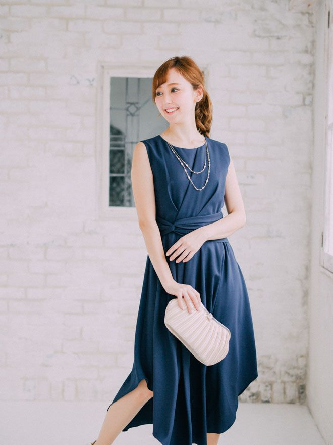 《Web限定特価》[2L] 4点セット(ドレス&羽織・バック・イヤリング ネイビー)