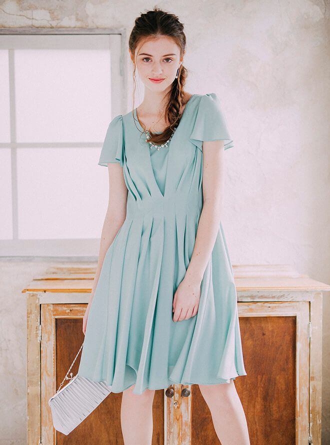 [M]《Web限定特価》4点セット(ドレス&羽織・バック・イヤリング ミント)