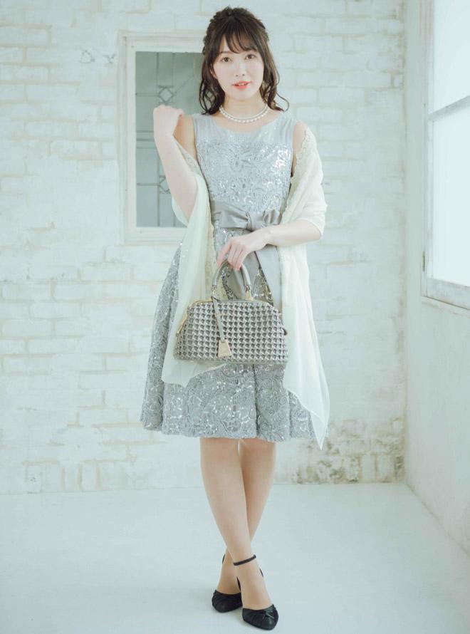 [M] 【4点セット】ドレス&羽織・バック・ネックレス シルバー