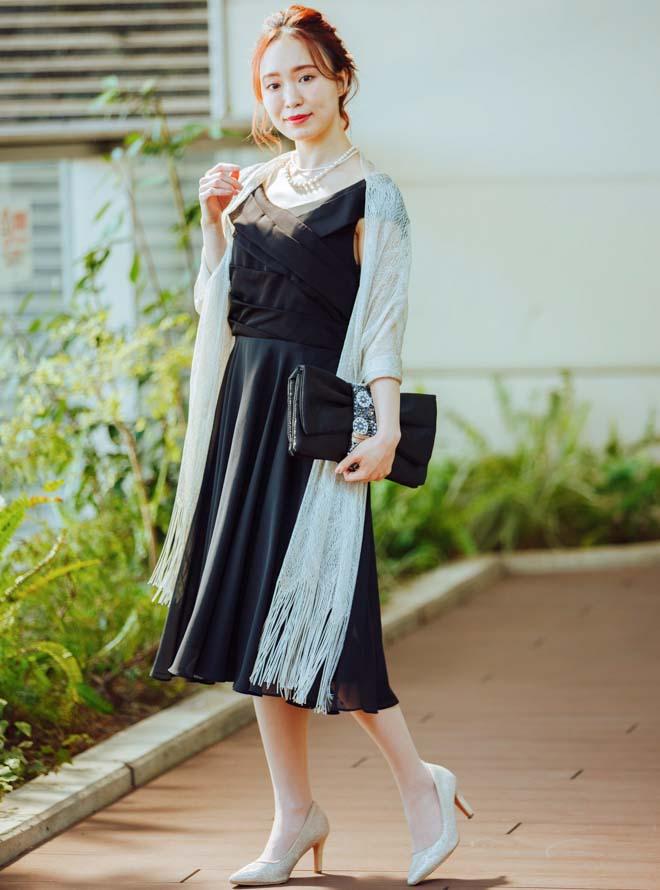 【レンタル】《Web限定特価》[M] 4点セット(ドレス&羽織・バック・ネックレス ブラック)