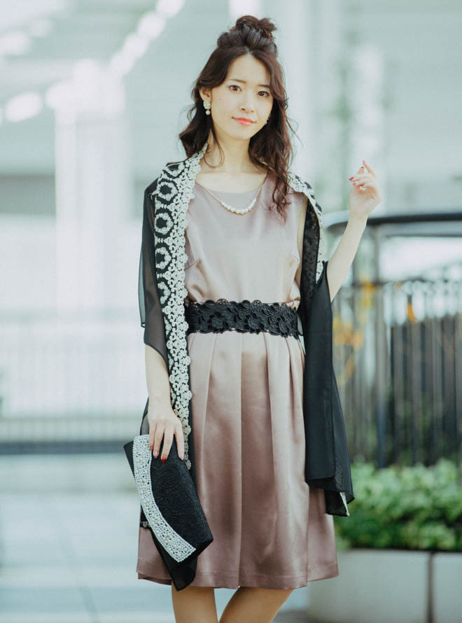 [2L] 【4点セット】ドレス&羽織・バック・イヤリング ブラウン