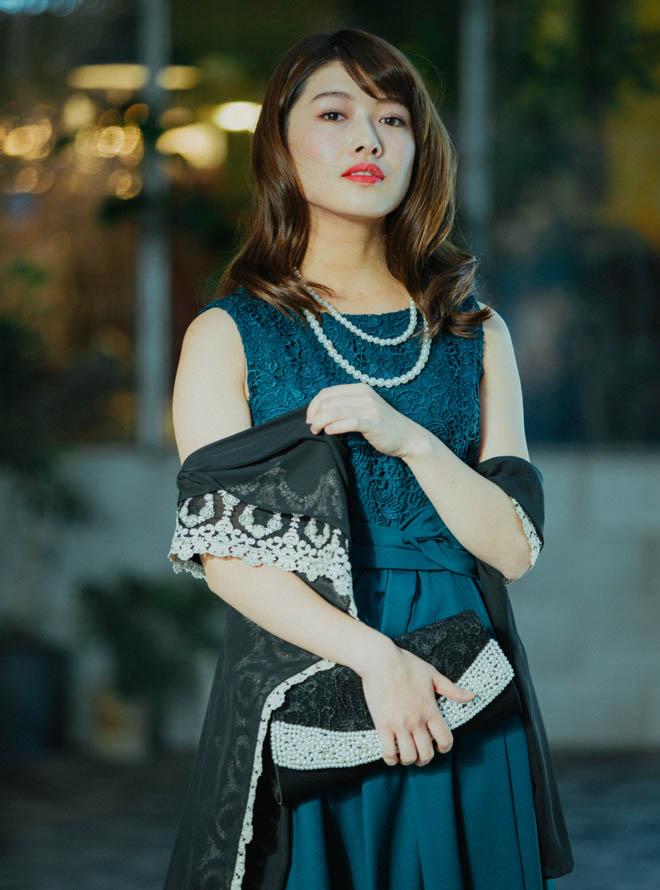 [L] 【4点セット】ドレス&羽織・バック・ネックレス グリーン