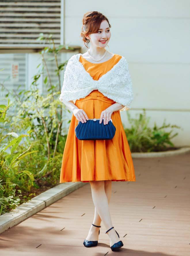 [M] 【4点セット】ドレス&羽織・バック・ネックレス オレンジ