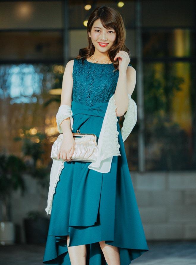 【レンタル】《Web限定特価》[M] 4点セット(ドレス&羽織・バック・ネックレス グリーン)