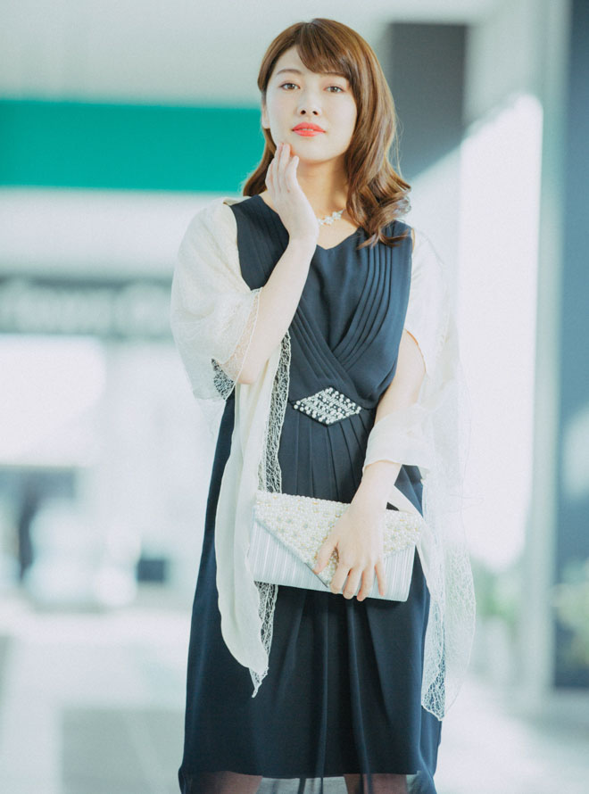 [M] 【4点セット】ドレス&羽織・バック・ネックレス ネイビー