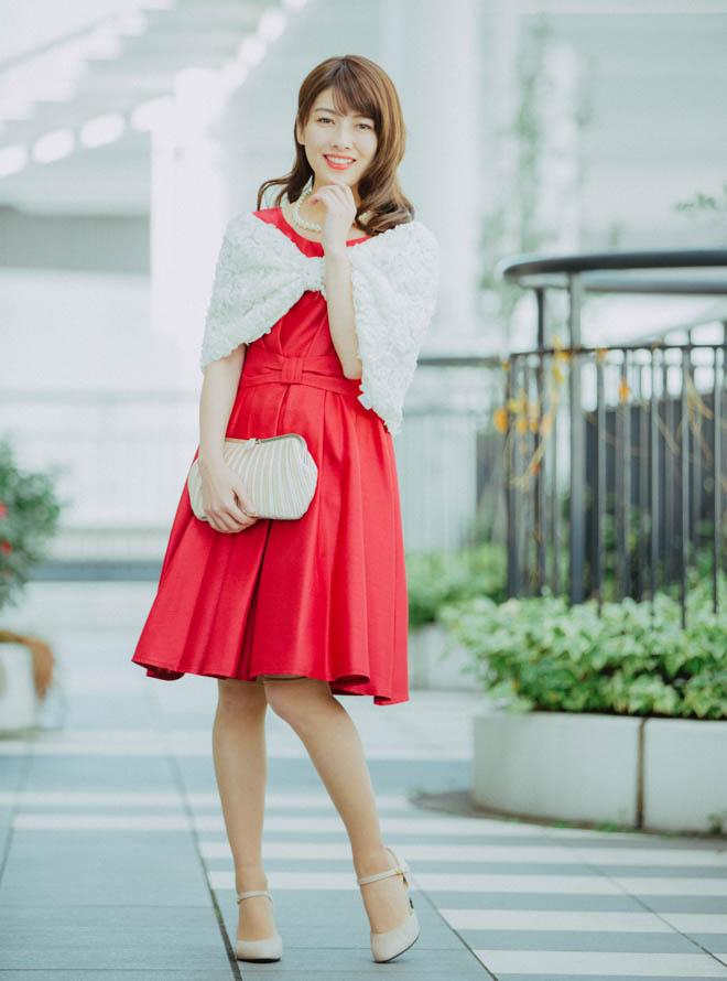 [M] 【4点セット】ドレス&羽織・バック・ネックレス ボルドー