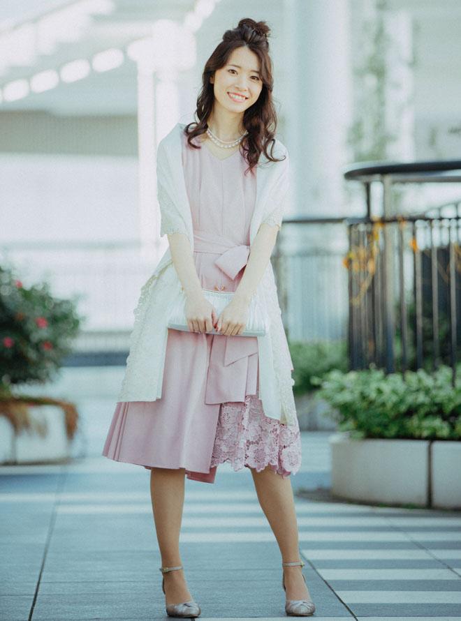 [M] 【4点セット】ドレス&羽織・バック・ネックレス ピンク