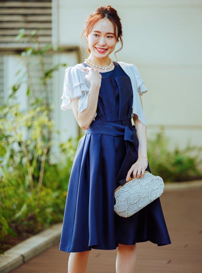 【レンタル】《Web限定特価》[M] 4点セット(ドレス&羽織・バック・ネックレス ネイビー)