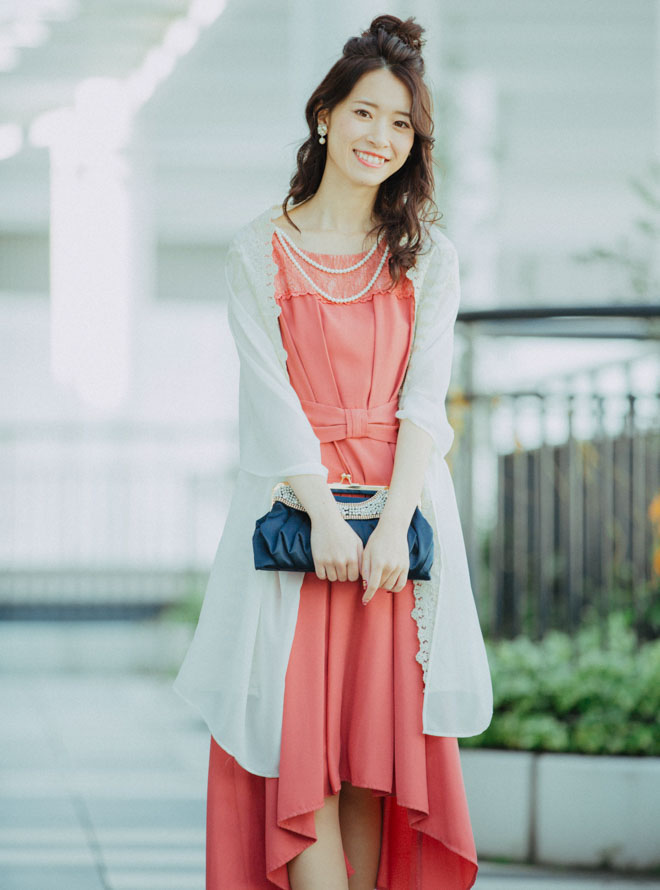[2L] 【4点セット】ドレス&羽織・バック・イヤリング ピンク