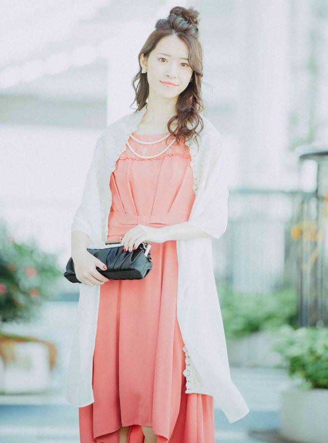 【レンタル】《Web限定特価》[L] 4点セット(ドレス&羽織・バック・イヤリング ピンク)