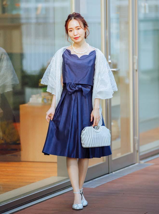 【Web限定特価】[S] 4点セット(ドレス&羽織・バック・ネックレス ネイビー)