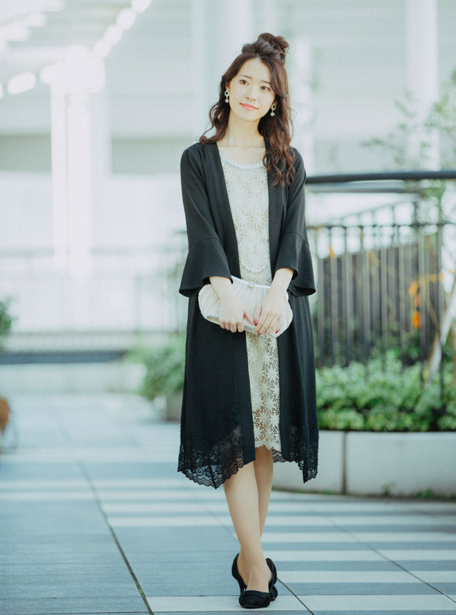 [M] 【4点セット】ドレス&羽織・バック・イヤリング ゴールド