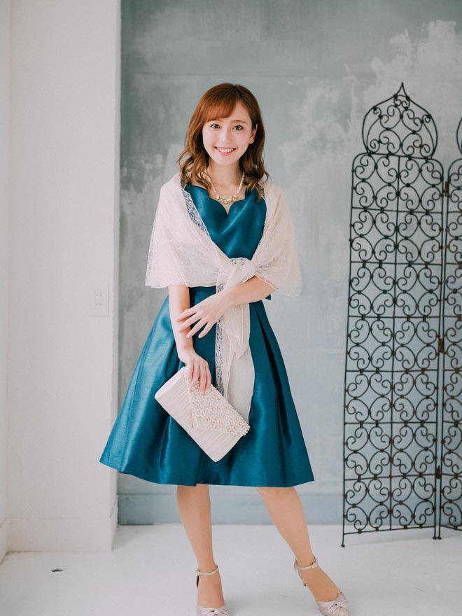 [M]《Web限定特価》4点セット(ドレス&羽織・バック・ネックレス ターコイス)