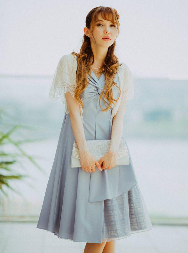 [M] 【4点セット】ドレス&羽織・バック・ネックレス ブルー