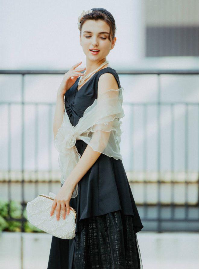 [M]《Web限定特価》4点セット(ドレス&羽織・バック・ネックレス ブラック)
