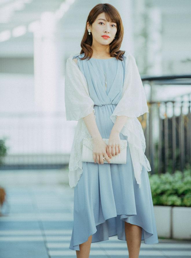 [M]《Web限定特価》4点セット(ドレス&羽織・バック・イヤリング グレー)