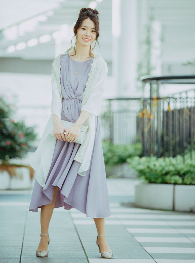 [M] 【4点セット】ドレス&羽織・バック・イヤリング パープル