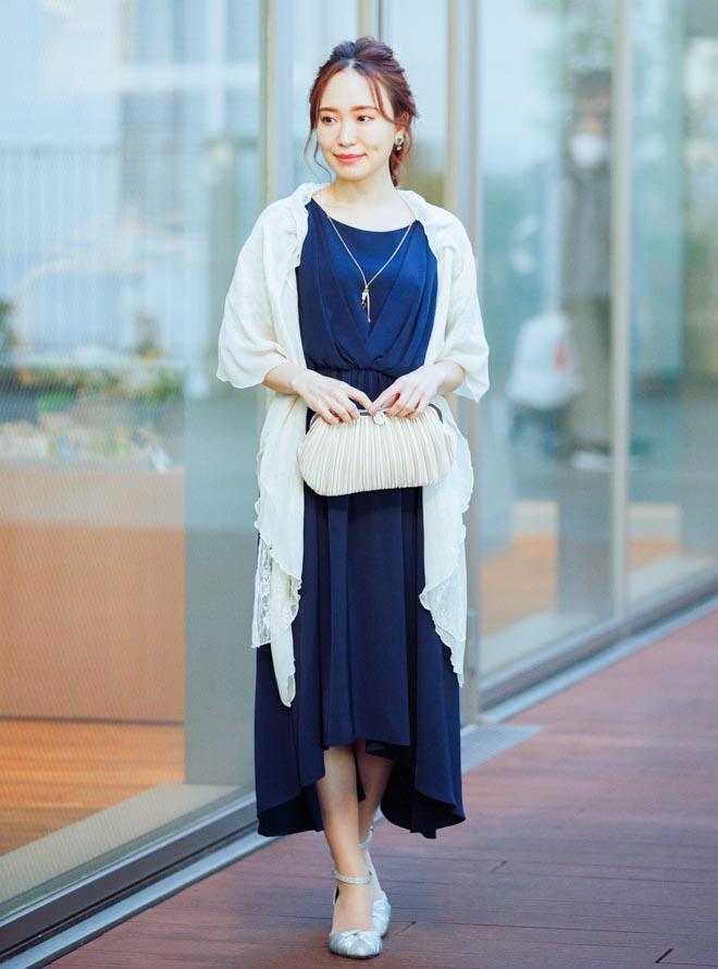 [M] 【4点セット】ドレス&羽織・バック・イヤリング ネイビー